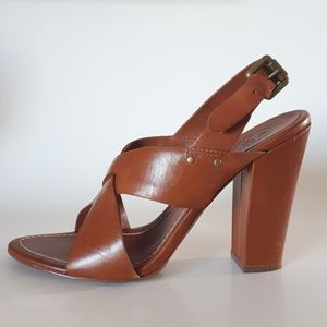 ASH | Leather Stacked Heel Sandals